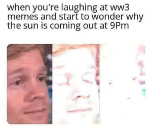 Just ww3 things by parose_official MORE MEMES: when you're laughing at ww3  memes and start to wonder why  the sun is coming out at 9Pm Just ww3 things by parose_official MORE MEMES