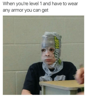 Can, Armor, and You: When you're level 1 and have to wear  any armor you can get Level 1 Armor 😢