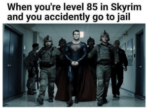 Jail, Skyrim, and Archer: When you're level 85 in Skyrim  and you accidently go to jail Stealth archer (i.redd.it)
