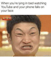 Lying In Bed: When you're lying in bed watching  YouTube and your phone falls on  your face  mematic.net