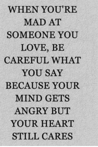 Memes, Angry, and Mad: WHEN YOU'RE  MAD AT  SOMEONE YOU  LOVE, BE  CAREFUL WHAT  YOU SAY  BECAUSE YOUR  MIND GETS  ANGRY BUT  YOUR HEART  STILL CARES 💯 ♡