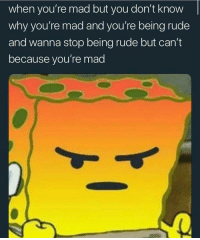 anxietyproblem:  @anxietyproblem: when you're mad but you don't know  why you're mad and you're being rude  and wanna stop being rude but can't  because you're mad anxietyproblem:  @anxietyproblem