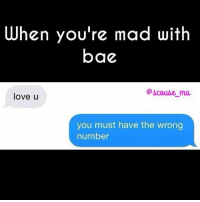 Bae, Love, and Memes: When you're mad with  bae  @bcoube ma  love u  you must have the wrong  number Who dis? 😈 repost from the drop dead gorgeous @scouse_ma 😍 make sure you're following this fab page!!! @scouse_ma @scouse_ma @scouse_ma Scouse_ma Fabsquad goodgirlwithbadthoughts💅🏽