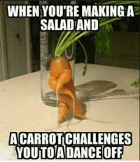 Youre,  Salad, and Off: WHEN YOU'RE MAKINGA  SALAD AND  ACARROTCHALLENGES  YOUTOADANCE OFF