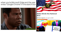 "Bailey Jay, Chrome, and Google: when you're Microsoft Edge and the user  writes ""Google Chrome in the search box  Make Shrek the National  Bird  89 have signed. Let's get to 200!  shrek is  the neww  national bird ."