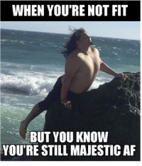 At the beach with my girlfriend: WHEN YOU'RE NOT FIT  BUT YOU KNOW  YOU'RE STILL MAJESTICAF At the beach with my girlfriend