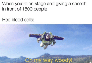 Rip: When you're on stage and giving a speech  in front of 1500 people  Red blood cells:  On my way woody! Rip