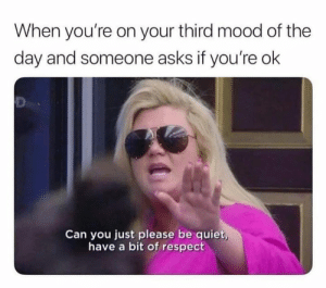 Dank, Mood, and Respect: When you're on your third mood of the  day and someone asks if you're ok  Can you just please be quiet  have a bit of respect Please and thank you.