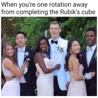 Cube, One, and Rubiks Cube: When you're one rotation away  from completing the Rubik's cube <p>Cuando estás a un giro de completar el rubik</p>