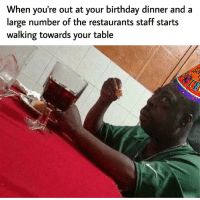 Birthday, Restaurants, and Time: When you're out at your birthday dinner and a  large number ot the restaurants staft starts  walking towards your table Every single time