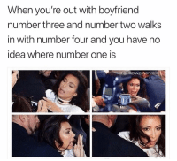 Girl Memes, Boyfriend, and Idea: When you're out with boyfriend  number three and number two walks  in with number four and you have no  idea where number one is  IG @HOEGIVESNOFUCK WHERE IS NUMBER ONE?!