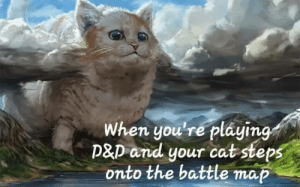 A new foe approaches.: When you're pláying  P&D and your cat steps  onto the battle map A new foe approaches.