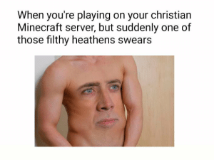 https://t.co/WsmZ3stt6x: When you're playing on your christian  Minecraft server, but suddenly one of  those filthy heathens swears https://t.co/WsmZ3stt6x