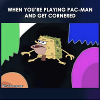 Pacman: WHEN YOU'RE PLAYING PAC-MAN  AND GET CORNERED  @itsSpongegar