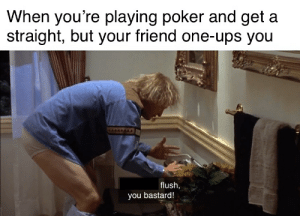 You sold my dead bird to a blind kid?: When you're playing poker and get a  straight, but your friend one-ups you  flush,  you bastard! You sold my dead bird to a blind kid?