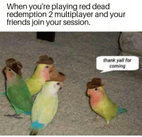 Friends, Meme, and Dank Memes: When you're playing red dead  redemption 2 multiplayer and your  friends join your session.  thank yall for  coming