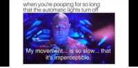 Lights, For, and Automatic: when you're pooping for so lon  that the automatic lights turn of  My movement... is so slow... that  it's imperceptible.