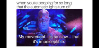 Lights, For, and Automatic: when you're pooping for so lon  that the automatic lights turn of  My movement... is so slow... that  it's imperceptible. Guilty