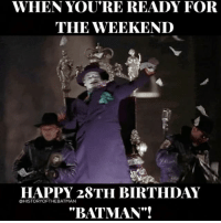 """Good afternoon Gothamites and I hope you're all having a fantastic Friday! On this day (June 23) in Batman history, Tim Burton's 1989 film """"Batman"""" hit theaters! Starring Michael Keaton as Bruce Wayne - Batman and Jack Nicholson as Jack Napier - The Joker, Burton's """"Batman"""" not only established the Hollywood film marketing utilized today but also was a major financial success, highlighting the superhero movie genre as a contender in the box office. Happy 28th anniversary to the Burtonverse! Thanks for following and we'll have more History of the Batman soon! ✌🏼💜💚🃏🦇🎬🎉: WHEN YOU'RE READY FOR  THE VEEKEND  HAPPY 28TH BIRTHDAY  """"BATMAN""""!  OHISTORYOFTHEBATMAN Good afternoon Gothamites and I hope you're all having a fantastic Friday! On this day (June 23) in Batman history, Tim Burton's 1989 film """"Batman"""" hit theaters! Starring Michael Keaton as Bruce Wayne - Batman and Jack Nicholson as Jack Napier - The Joker, Burton's """"Batman"""" not only established the Hollywood film marketing utilized today but also was a major financial success, highlighting the superhero movie genre as a contender in the box office. Happy 28th anniversary to the Burtonverse! Thanks for following and we'll have more History of the Batman soon! ✌🏼💜💚🃏🦇🎬🎉"""