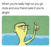 Funny, Mute, and Alright: When you're really high so you go  mute and your friend asks if you're  alright 😂