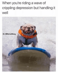 Ride this bitch out: When you're riding a wave of  crippling depression but handling it  well  IG: GMemeMang Ride this bitch out