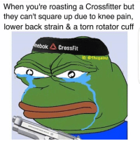 Torn, Strain, and Knee Pain: When you're roasting a Crossfitter but  they can't square up due to knee pain,  lower back strain & a torn rotator cuff  eebok CrossFit  IG: Othegainz LOL.