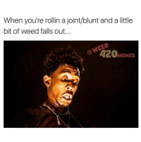 Am I the only person that makes this face when I drop a lil weed 😂 clearly I'm not @lifeofdesiigner makes the same face...😩😂 getitgetit brdrdrdrdrdraaaa: When you're rollin a joint/blunt and a little  bit of weed falls out.  420  MEMES Am I the only person that makes this face when I drop a lil weed 😂 clearly I'm not @lifeofdesiigner makes the same face...😩😂 getitgetit brdrdrdrdrdraaaa