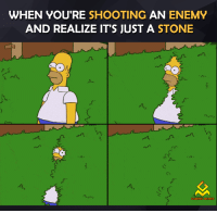 Gaming Meme: WHEN YOU'RE SHOOTING  AN ENEMY  AND REALIZE IT'S JUST A STONE  n  GAMING MEMES