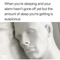 Dank, Alarm, and Sleeping: When you're sleeping and your  alarm hasn't gone off yet but the  amount of sleep you're getting is  suspicious I can relate