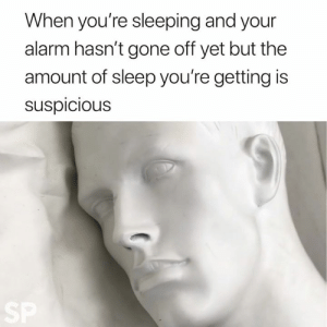 Alarm, Sleeping, and Sleep: When you're sleeping and your  alarm hasn't gone off yet but the  amount of sleep you're getting is  suspicious  SP every morning 😫