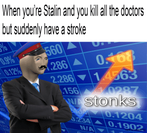 Dank Memes, Stroke, and Stalin: When you're Stalin and you killal the doctors  but suddenly have a stroke  560  286  2.286  \.156  WAStonks  7.9%  0.12%  14563  0287  S02  0.1204  0.234  BE  0213  0.1902  NA  027  made by U/DarckG Stalin Stoke bois
