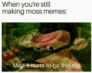 Dank, Memes, and Map: When you're still  making moss memes:  Map it hurts to be this hip Dank