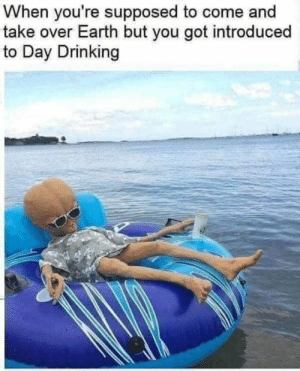 day drinking: When you're supposed to come and  take over Earth but you got introduced  to Day Drinking