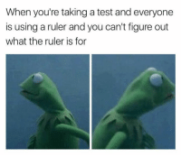 Memes, Ruler, and Test: When you're taking a test and everyone  is using a ruler and you can't figure out  what the ruler is for