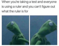 The Worst, Ruler, and Test: When you're taking a test and everyone  is using a ruler and you can't figure out  what the ruler is for This is the worst 🤣💯 https://t.co/4Ndvwe0G8u