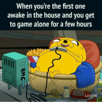 Memes, Nerd, and Nintendo: When you're the first one  awake in the house and you get  to game alone for a few hours  Looper 🎮😀 Guilty nerd geek videogames nintendo sega retro gaming mortalkombat fight finishhim fatality adventuretime fin jake bemo marvel avengers ironman captainamerica spiderman dc batman superman wonderwoman anime starwars thewalkingdead xmen