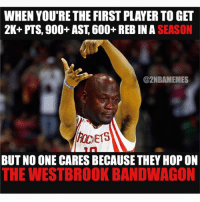Wesbrooks 42 triple doubles is insane😨 But, harden did something insane too and no one cares😂😂 - Follow @2nbamemes: WHEN YOU'RE THE FIRST PLAYERTOGET  2K+ PTS, 900+ AST, 600+ REB IN SEASON  @2NBAMEMES  E15  BUT NO ONE CARESBECAUSE THEY HOP ON  THE WESTBROOK BANDWAGON Wesbrooks 42 triple doubles is insane😨 But, harden did something insane too and no one cares😂😂 - Follow @2nbamemes