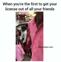 Friends, Funny, and Lmao: When you're the first to get your  license out of all your friends  Hood clips.com Lmao with the squad chillin😂