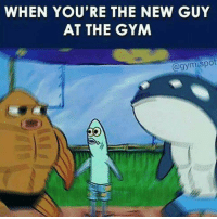 the new guy: WHEN YOU'RE THE NEW GUY  AT THE GYM  (a gym spot