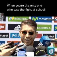"""""""I'm famous now"""" 😂: When you're the only one  who saw the fight at school  IBERDROLA  www.laol  po  IBERDROLA  adida  futbol pel  tbol  tve """"I'm famous now"""" 😂"""