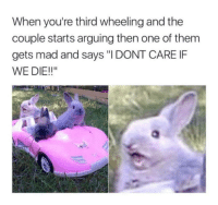 "Memes, Http, and Mad: When you're third wheeling and the  couple starts arguing then one of them  gets mad and says ""I DONT CARE IF  WE DIE!!"" <p>Being a third wheel is dangerous via /r/memes <a href=""http://ift.tt/2FdK0Up"">http://ift.tt/2FdK0Up</a></p>"