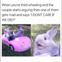 "Funny, Lol, and Mad: When you're third wheeling and the  couple starts arguing then one of them  gets mad and says ""IDONT CARE IF  WE DIE!!"" Tag this couple lol"