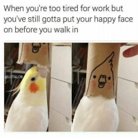 Work, Happy, and Face: When you're too tired for work but  you've still gotta put your happy face  on before you walk in  OLUTALO8
