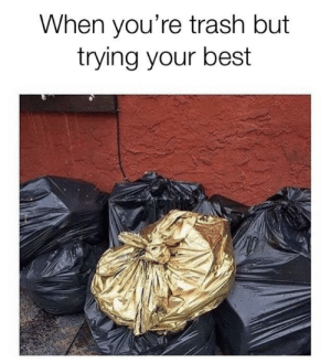 Never give up that heart of gold: When you're trash but  trying your best Never give up that heart of gold