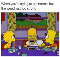 Weed, Strong, and Hood: When you're trying to act normal but  the weed just too strong Taking it easy! 😂