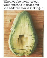 That shits definitely kicking😬 (FOLLOW @carteltwins @carteltwins): When you're trying to eat  your avocado in  peace but  the adderall starts kicking in That shits definitely kicking😬 (FOLLOW @carteltwins @carteltwins)