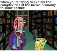 Meme, Normie, and Economy: when youre trying to explain the  complexities of the meme economy  to some normie