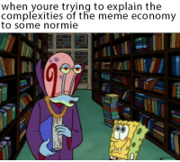 Meme, Normie, and Econ: when youre trying to explain the  complexities of the meme economy  to some normie <p>Meme Econ 101</p>