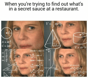 Dank, Memes, and Reddit: When you're trying to find out what's  in a secret sauce at a restaurant.  V=Trh  3  A = Tr  C = 2tr  V=Tr2h  30° 45 60°  tan (8)  sin xdx=-cosx+C  N2 3  10  sin  dx  gx+C  2  COS X  COS  figxdx-Injcosx+  1  tan  2x  dx  60%  Intg  sin x  ax +bx+c 0  30°  Birad  dx  arctg  a+x  dx  b-4ac  45  In  11  wNN What's in the sauce? by Rub_My_Brisket FOLLOW 4 MORE MEMES.