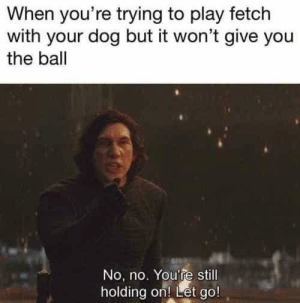 As soon as I throw the ball Dog: BLOW THAT PIECE OF JUNK OUT OF THE SKY: When you're trying to play fetch  with your dog but it won't give you  the ball  No, no. You're still  holding on! Let go! As soon as I throw the ball Dog: BLOW THAT PIECE OF JUNK OUT OF THE SKY